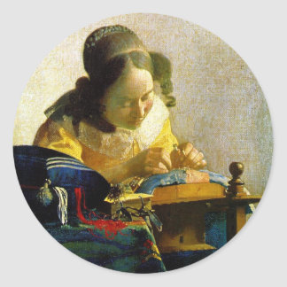 The Lacemaker, Jan Johannes Vermeer Classic Round Sticker