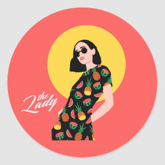 The Lady - Fruits Classic Round Sticker