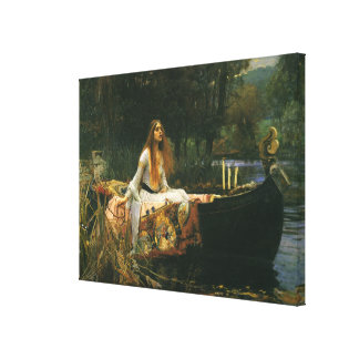 The Lady of Shalott On Boat by JW Waterhouse Canvas Print