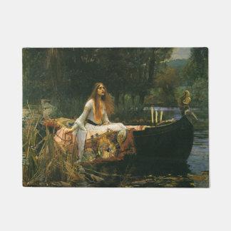 The Lady of Shalott On Boat by JW Waterhouse Doormat