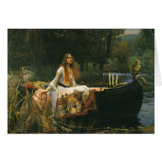 The Lady of Shalott On Boat by JW Waterhouse Greeting Card