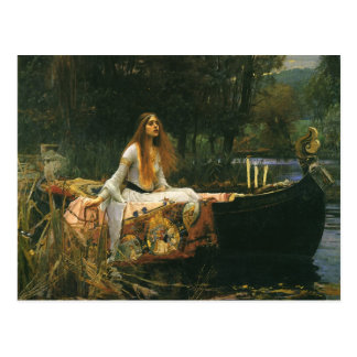 The Lady of Shalott On Boat by JW Waterhouse Post Card