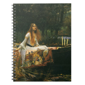 The Lady of Shalott On Boat by JW Waterhouse Spiral Note Books