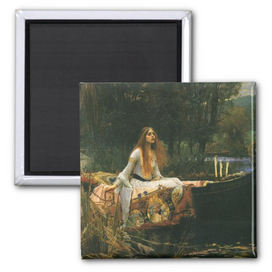The Lady of Shalott On Boat by JW Waterhouse Square Magnet