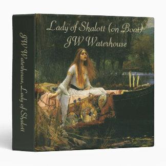 The Lady of Shalott On Boat by JW Waterhouse Vinyl Binder