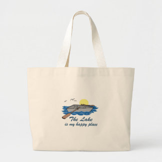 The Lake Is My Happy Place Large Tote Bag