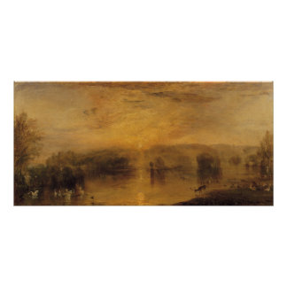 The Lake, Petworth: Sunset, a Stag Drinking Poster