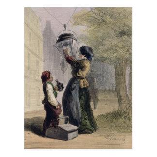 The Lamplighter, from 'Les Femmes de Paris' Postcard