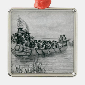 The Landing of Cadillac Metal Ornament