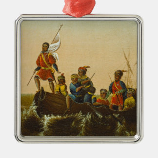 The Landing of Columbus, c.1837 (oil on canvas) Silver-Colored Square Ornament