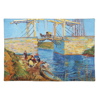 The Langlois Bridge at Arles with Women Washing Placemat