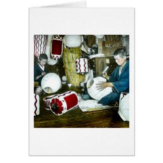 The Lantern Painter Craftsman Vintage Japan No 2 Greeting Card