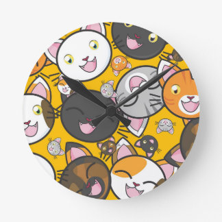The laughing cats round clock