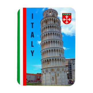 The Leaning Tower Of Pisa And The Italian Flag Magnet
