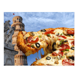 The Leaning Tower of Pizza (Pisa) Postcard