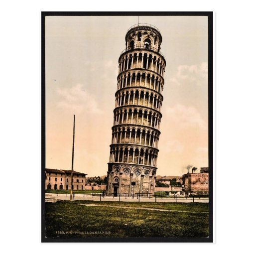 The Leaning Tower, Pisa, Italy classic Photochrom Postcards