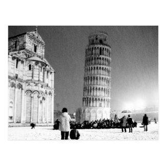 The Leaning Tower under the snow (B&W) Postcard