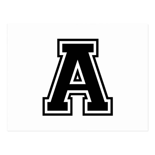 The Letter A, Collegiate Alphabet Postcard
