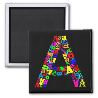 The Letter A Square Magnet