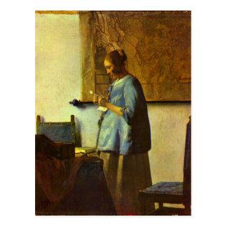 The letter reader by Johannes Vermeer Postcard