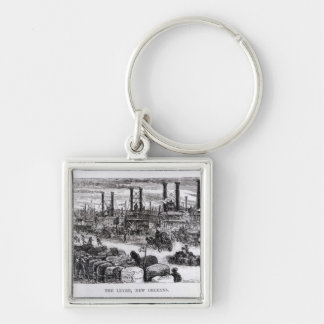 The Levee, New Orleans Silver-Colored Square Keychain