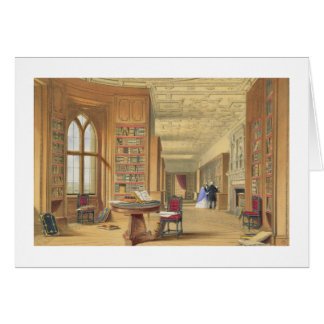 The Library, Windsor Castle, 1838 (colour litho) Card