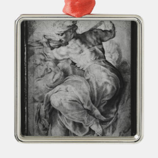 The Libyan Sibyl, after Michangelo Buonarroti Silver-Colored Square Ornament