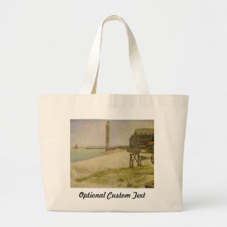 The Lighthouse at Honfleur by Georges Seurat Large Tote Bag