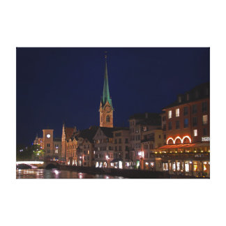 The lights of evening Zurich. Canvas Print