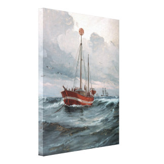 The lightship at Skagen Reef Painting Canvas Print