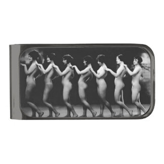 The Line Up Vintage Nude Pin-Up Money Clip Gunmetal Finish Money Clip