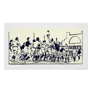The Lineout - Vintage Rugby Illustration Print
