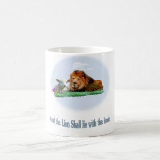 The lion and the lamb art coffee mug