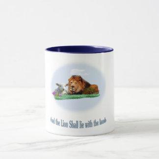 The lion and the lamb art mug