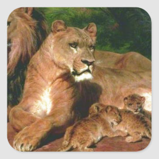 The Lion at Home by Rosa Bonheur Square Sticker