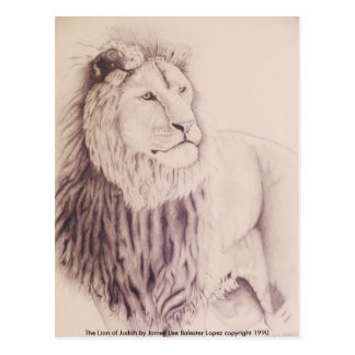 The Lion of Judah - pencil on paper 1990 Var 3,... Postcard