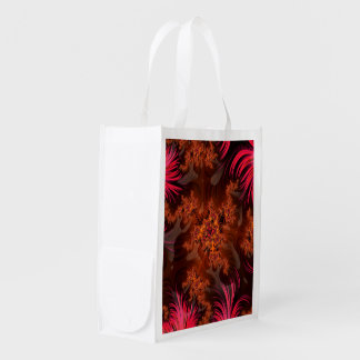 The Liquid Lava Heart of a Fractal Volcano Reusable Grocery Bag
