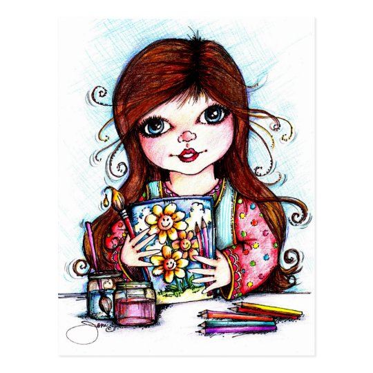 The Little Artist Painting Happy Flowers Postcard