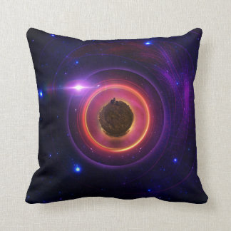 The Little Astronaut on a Tiny Fractal Planet Throw Pillow