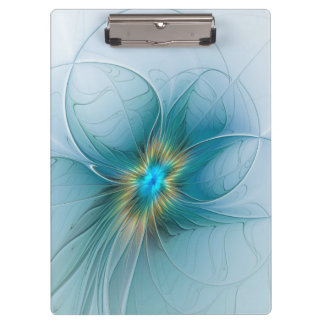The little Beauty Modern Blue Gold Fractal Flower Clipboard