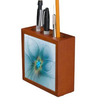 The little Beauty Modern Blue Gold Fractal Flower Desk Organizer