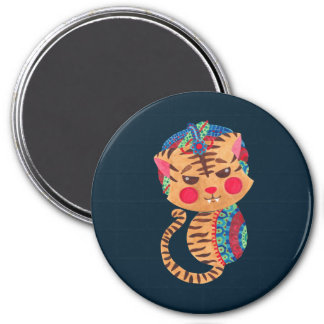 The Little Bengal Tiger 3 Inch Round Magnet