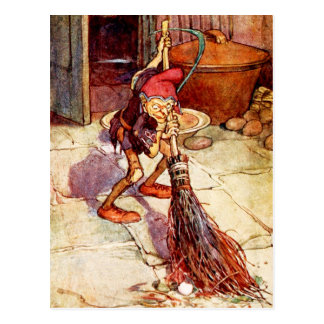 The Little Brownie doing Housework Postcard
