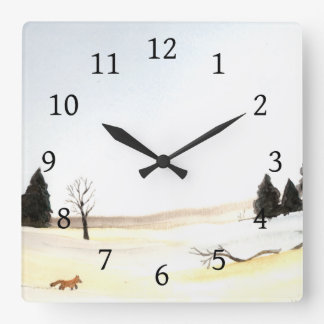 The Little Fox Square Wall Clock