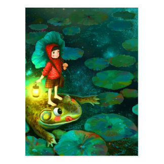 The little girl in the pond with frog.jpg postcard