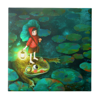 The little girl in the pond with frog.jpg tiles
