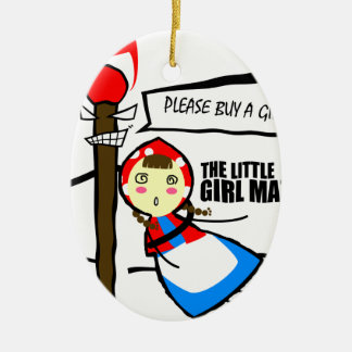 the little girl match TEST Ceramic Oval Ornament