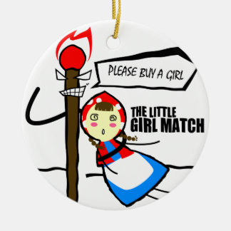 the little girl match TEST Round Ceramic Ornament