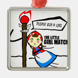 the little girl match TEST Silver-Colored Square Ornament