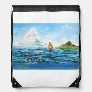 The little Mermaid seascape painting Drawstring Bag